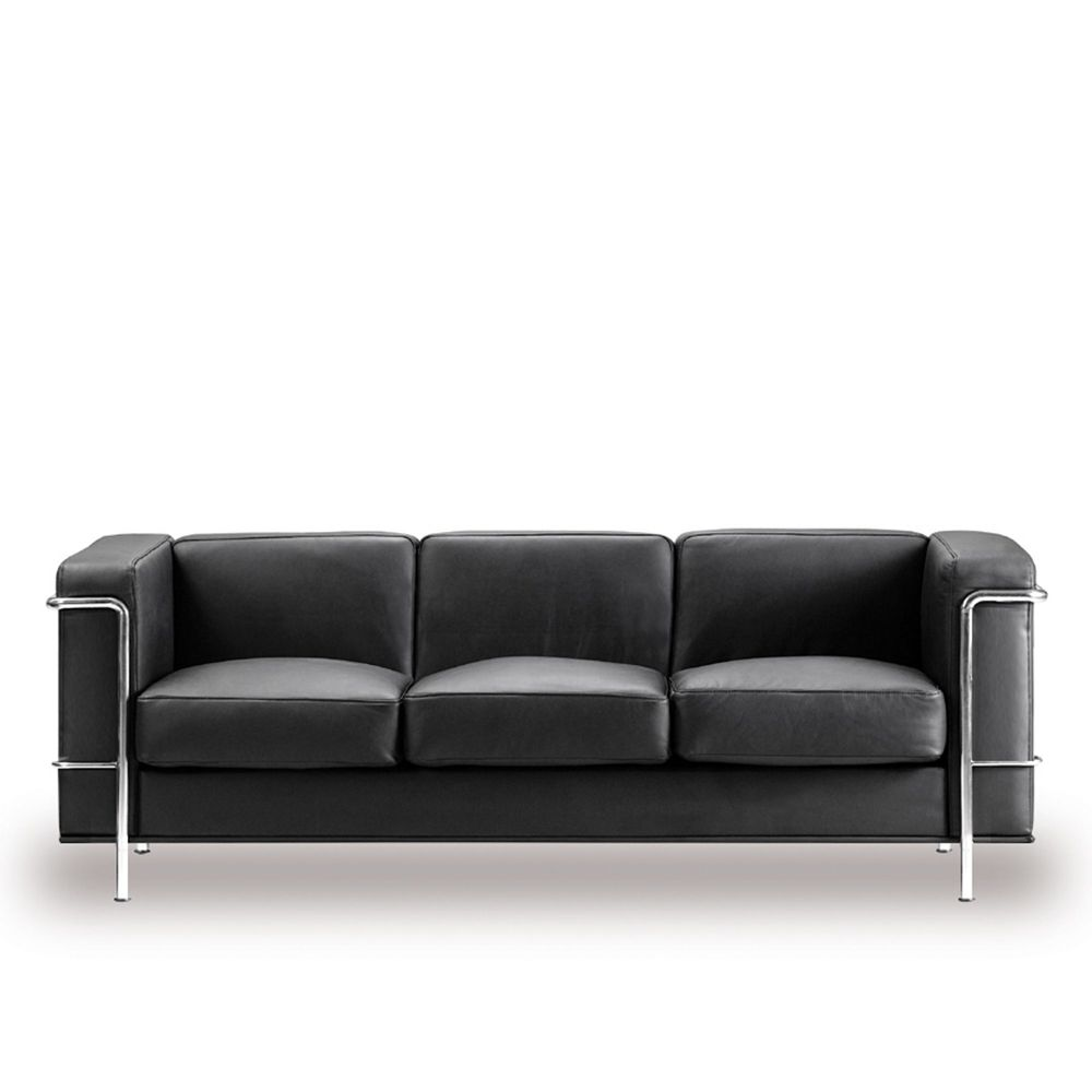Belmont Contemporary Cubed Leather Faced Reception Three Seater Sofa in Black